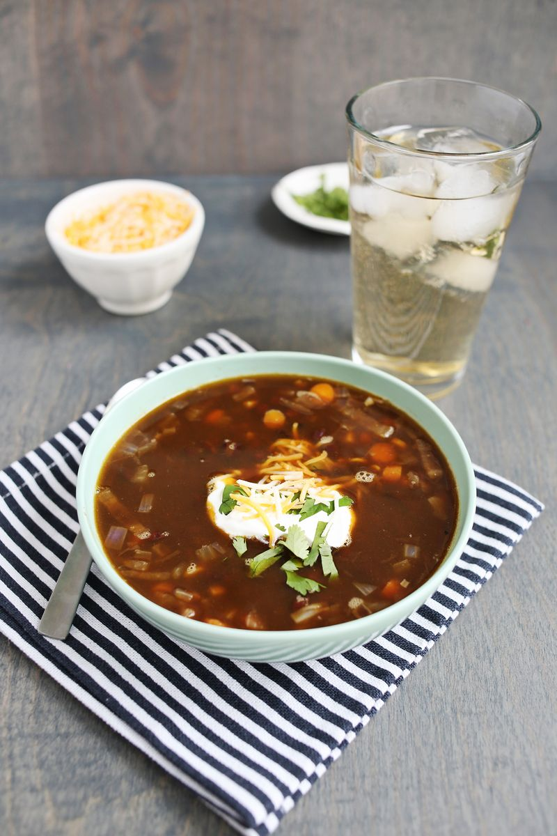 Easy Black Bean Soup via A Beautiful Mess