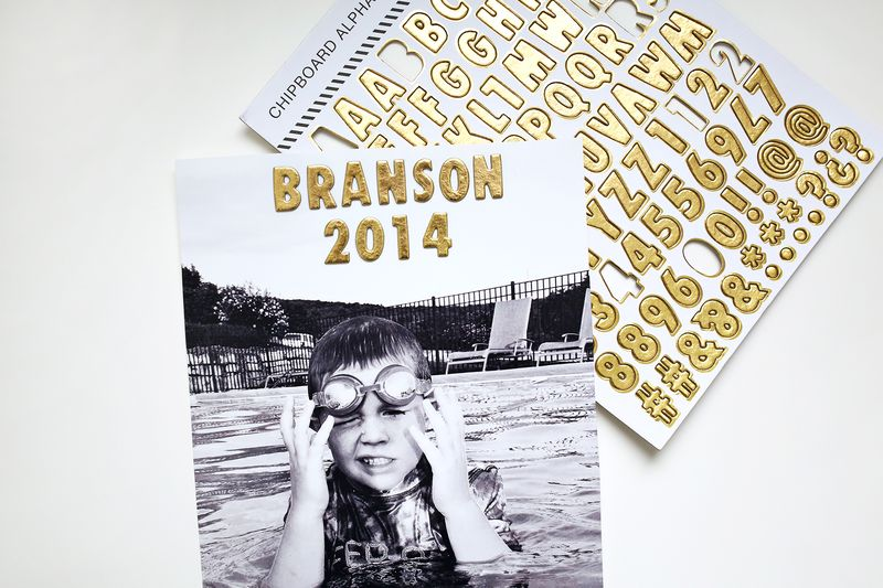 Gold foil chipboard letters in ABM Messy Box