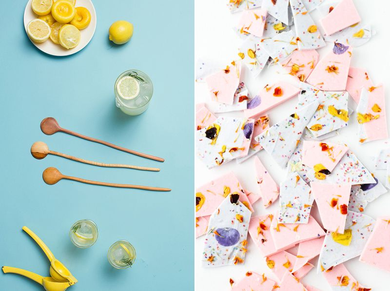 Pretty handmade spoons and floral chocolate
