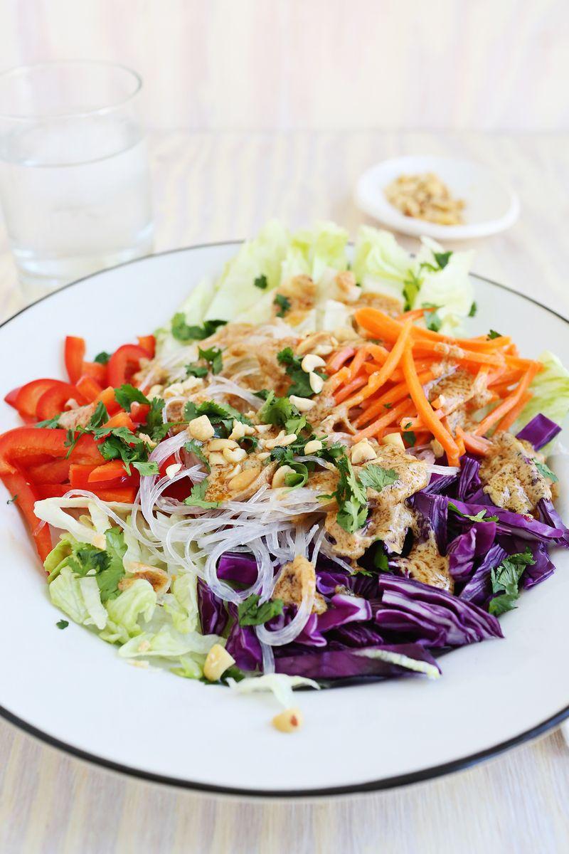 Spring Roll Salad with Spicy Peanut Dressing (via abeautifulmess.com)