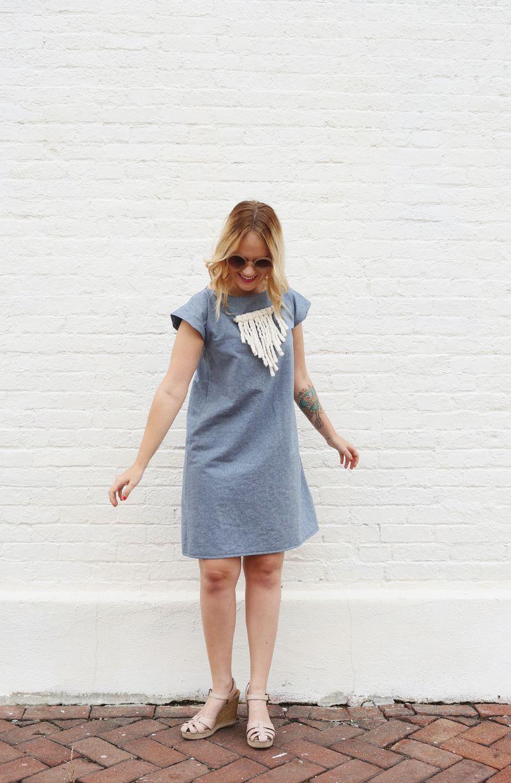 Homemade chambray dress (via abeautifulmess.com)