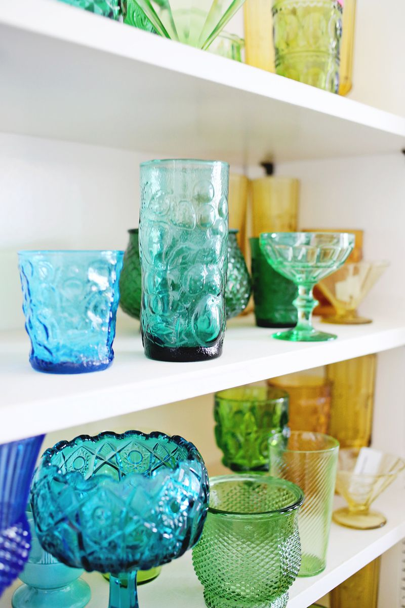 In progress- collecting colorful glassware!