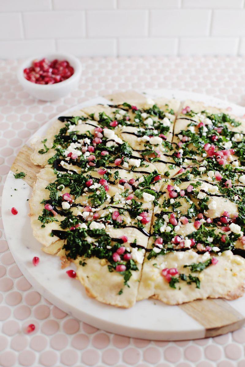 Pomegranate, Kale, Balsamic Pizza (via abeautifulmesss.com)
