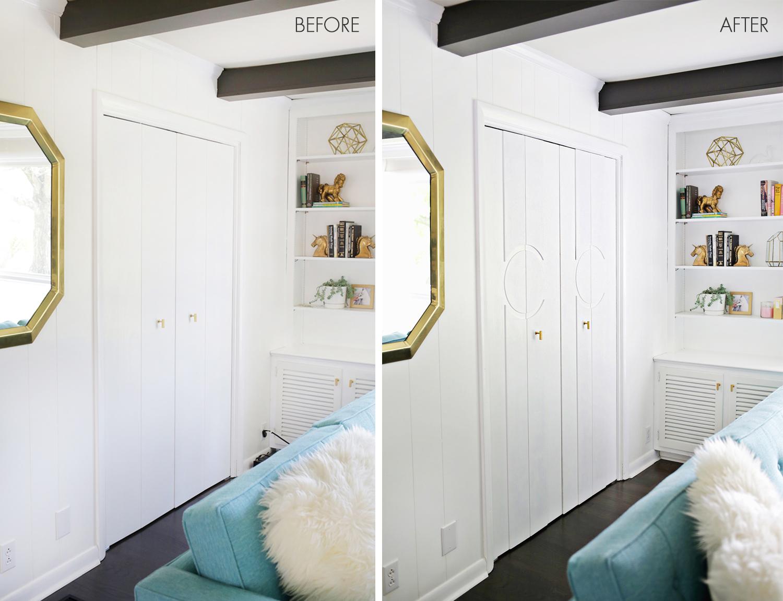 Add Geometric Panels To Your Plain Closet Doors A Beautiful Mess