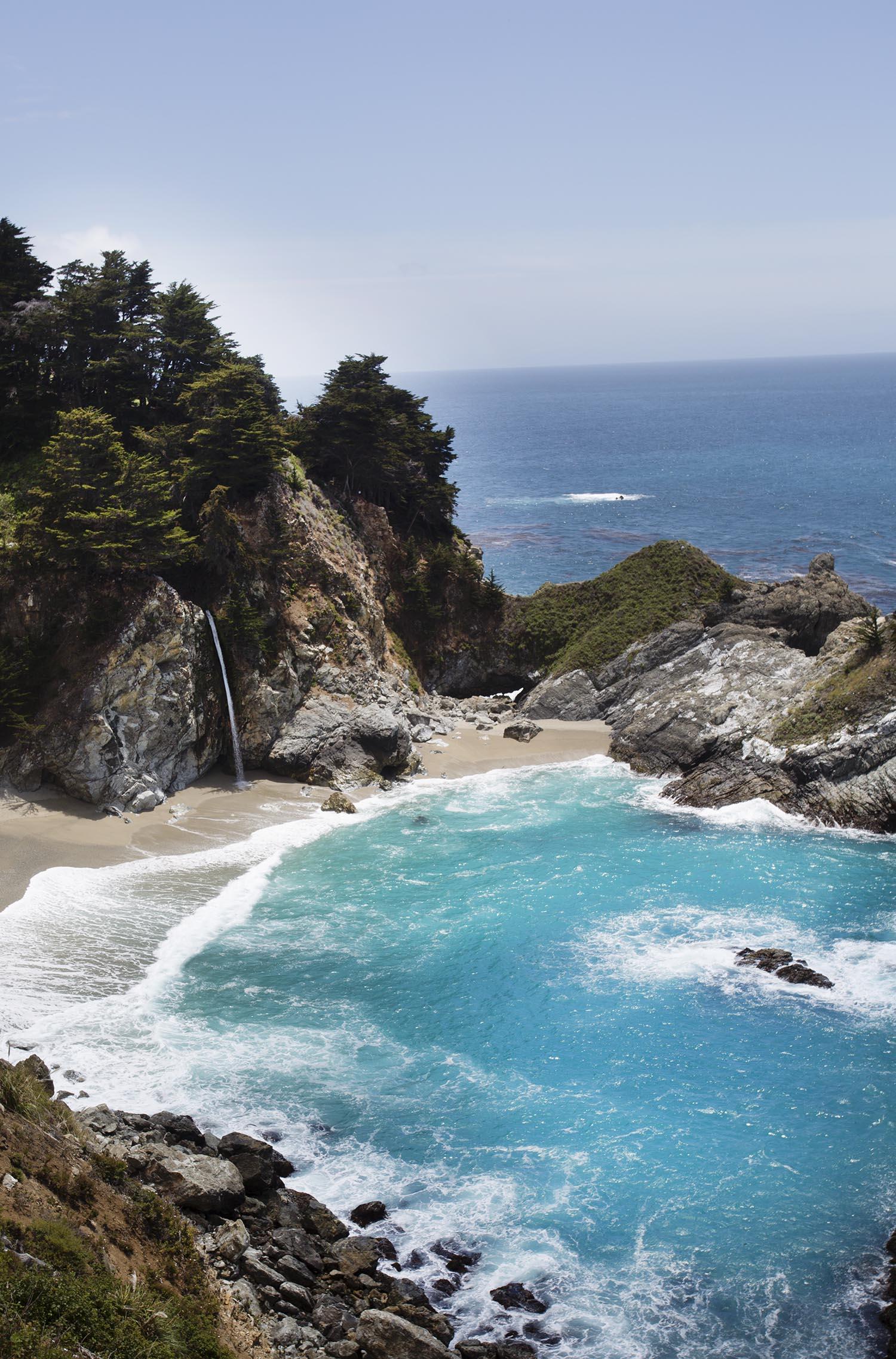 Ocean waterfall in Big Sur CA