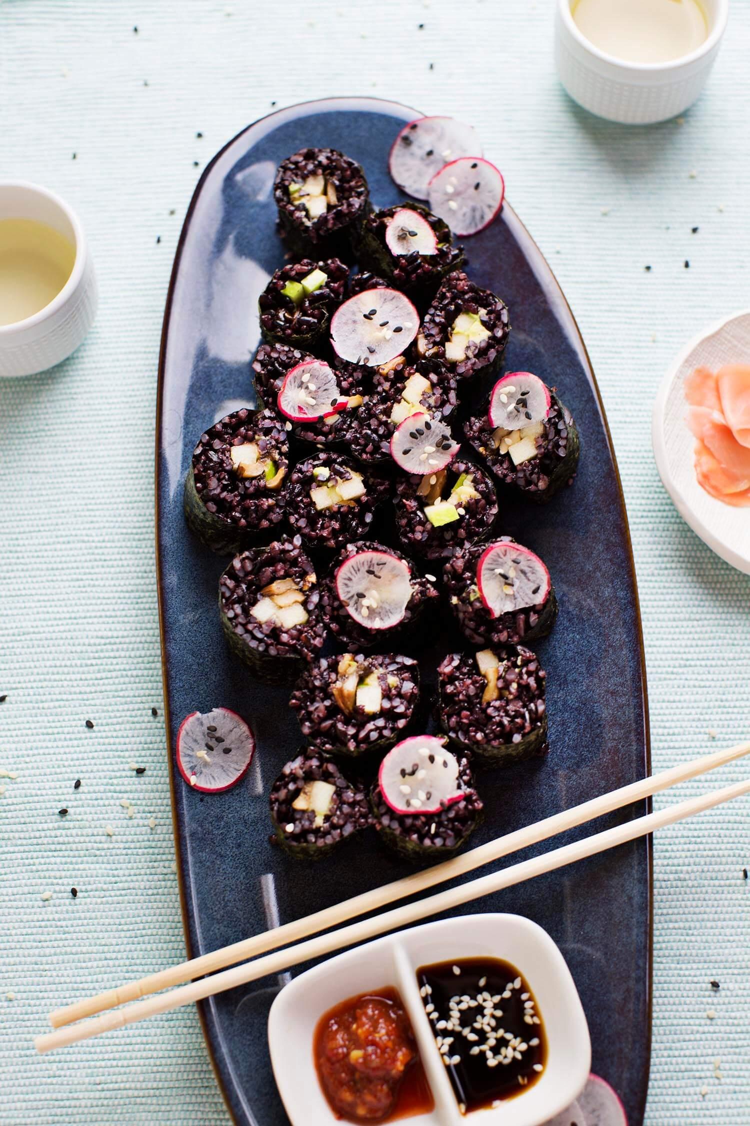 Smoky Mushroom and Black Rice Sushi (via abeautifulmess.com)