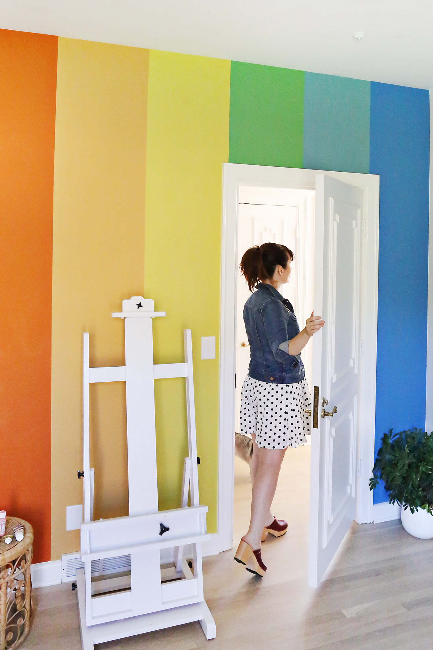 OMG rainbow wall DIY! ABeautifulMess.com