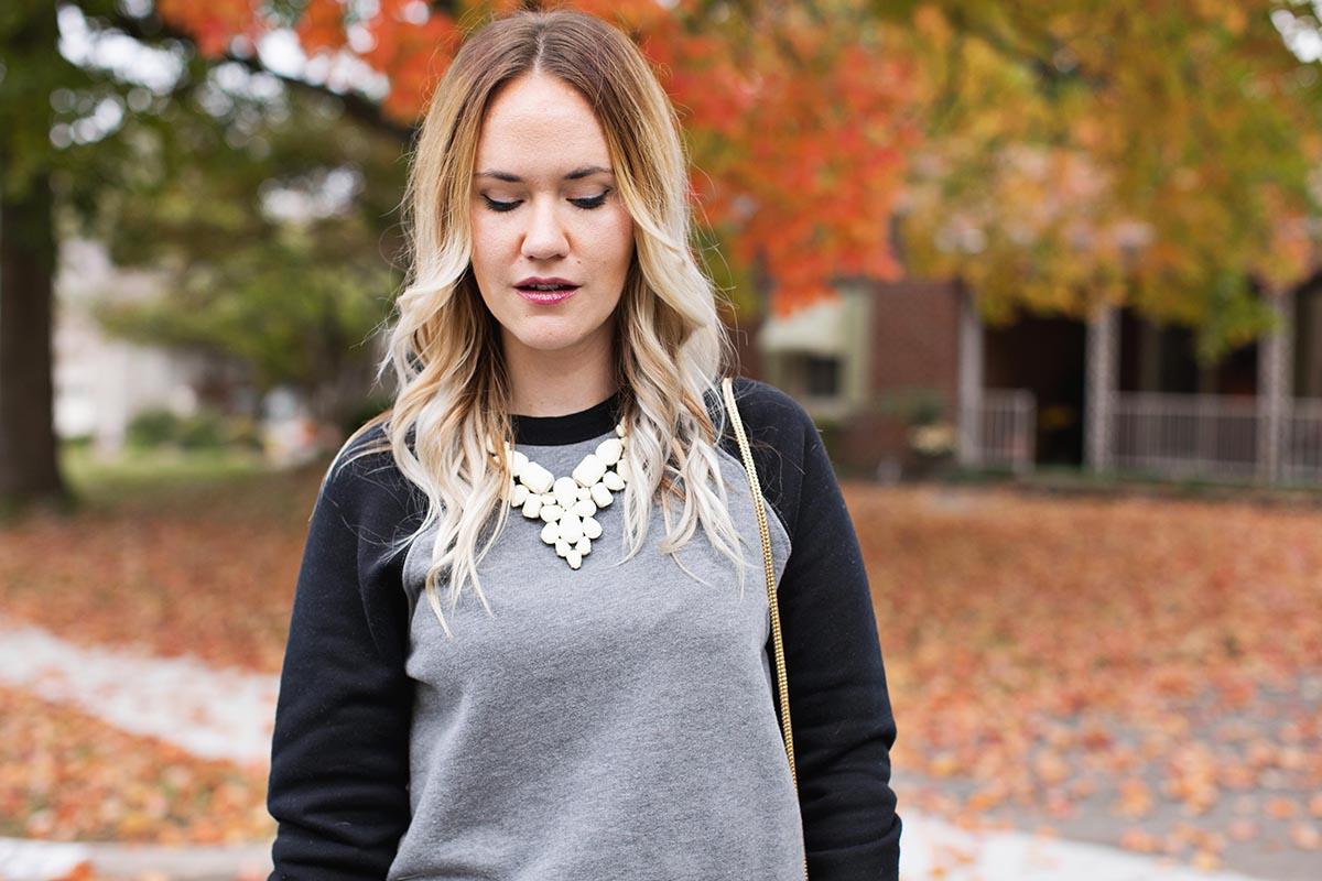 Sweatshirts and statement necklaces