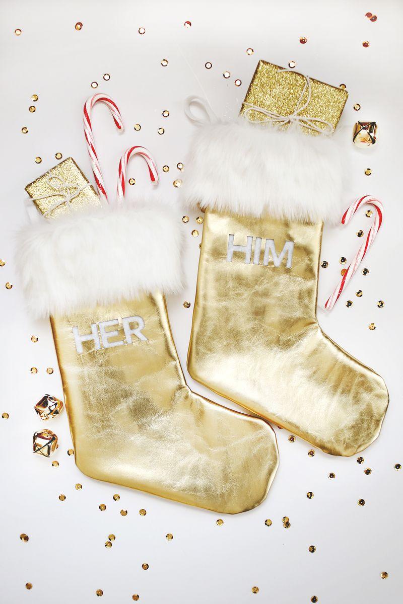 Gold Leather Fur Stocking DIY