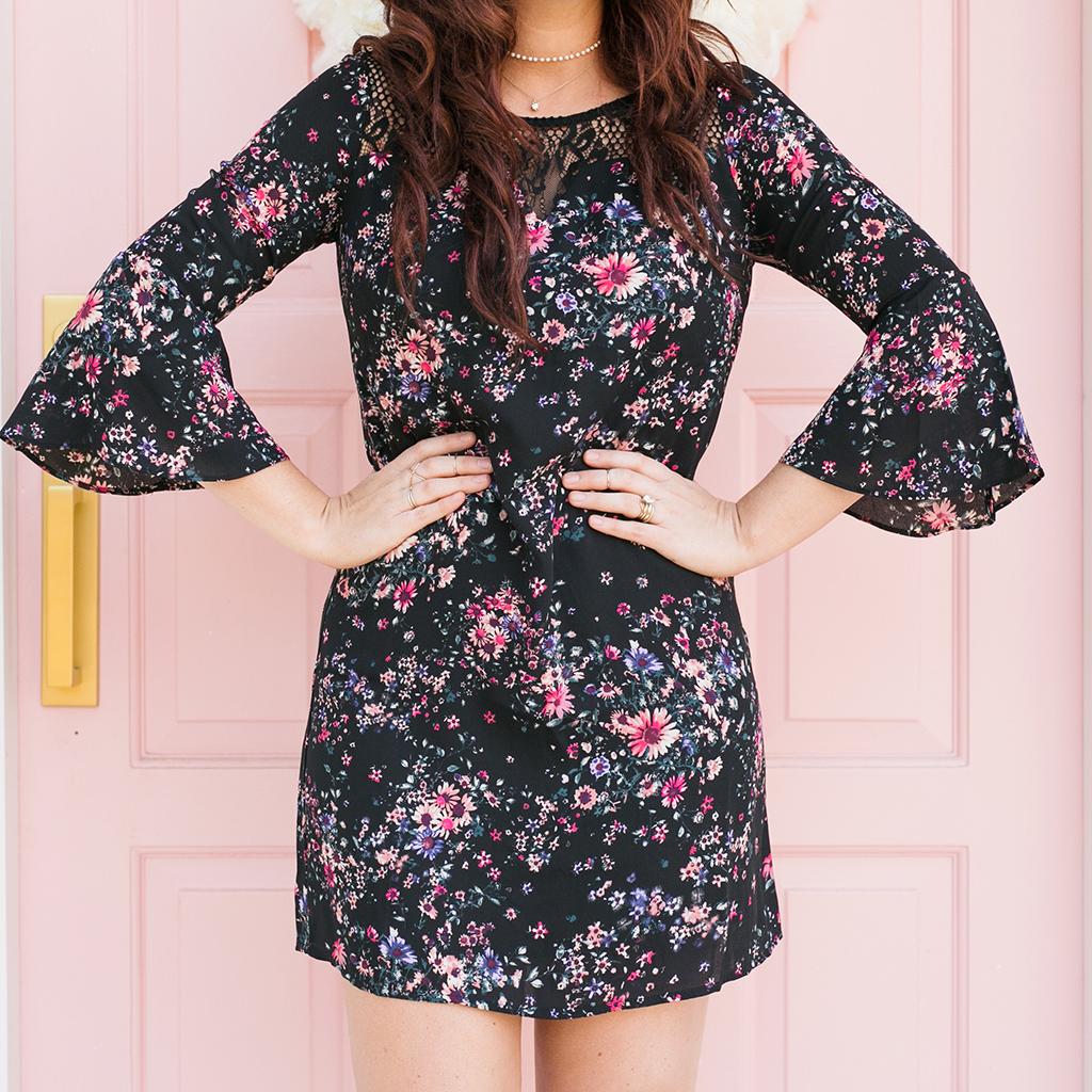 Floral Dreamer Bell Sleeve Dress 1