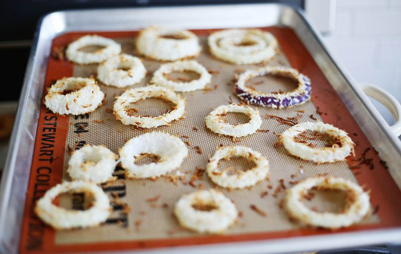 Baked coconut onion rings