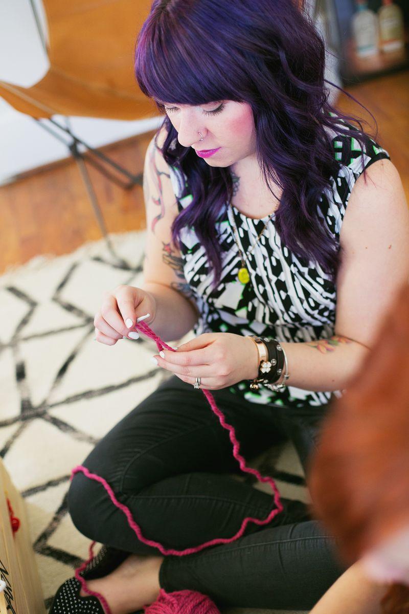 Holly Neufeld teaches crochet