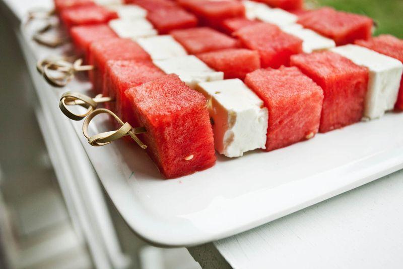 Watermelon and feta skewers