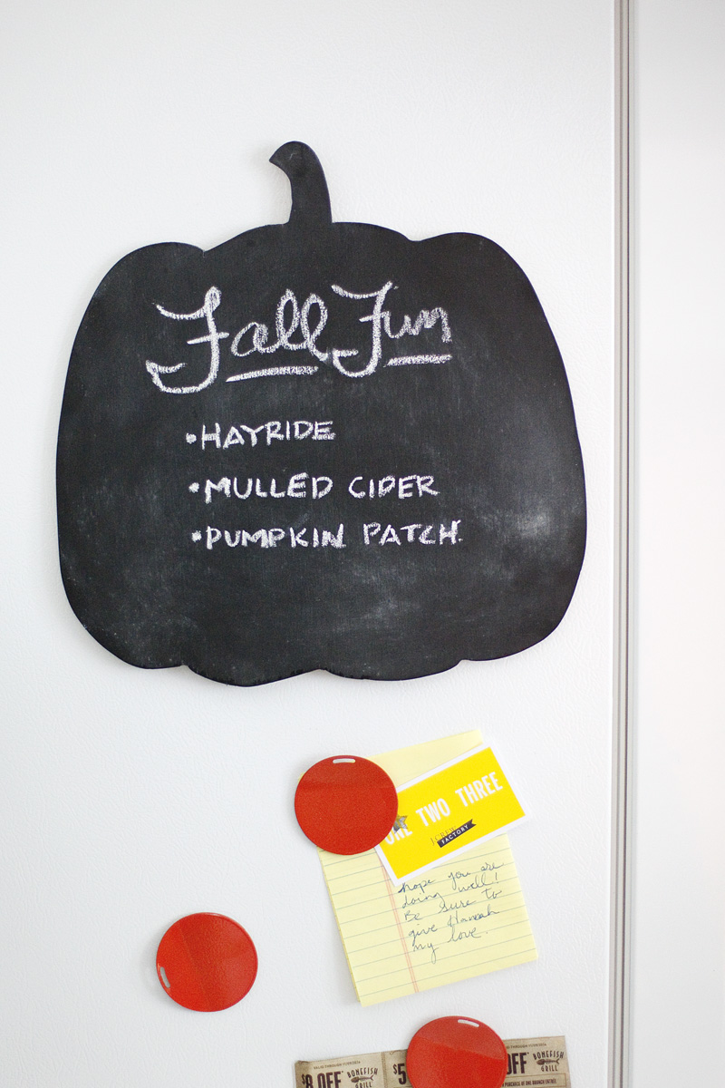 Make a pumpkin chalkboard for thankful lists or fun to-do lists