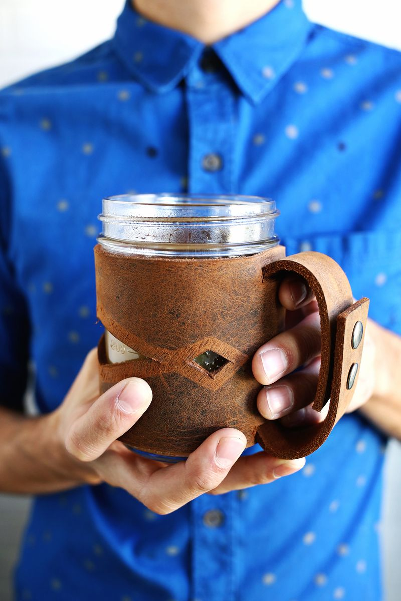 Leather Mason Jar Sleeve A Beautiful Mess