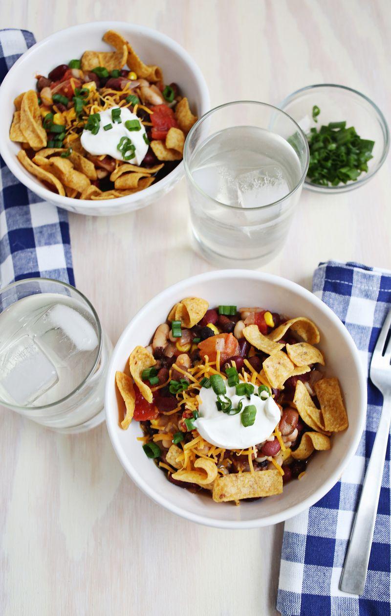 5 bean vegetarian chili recipe via A Beautiful Mess