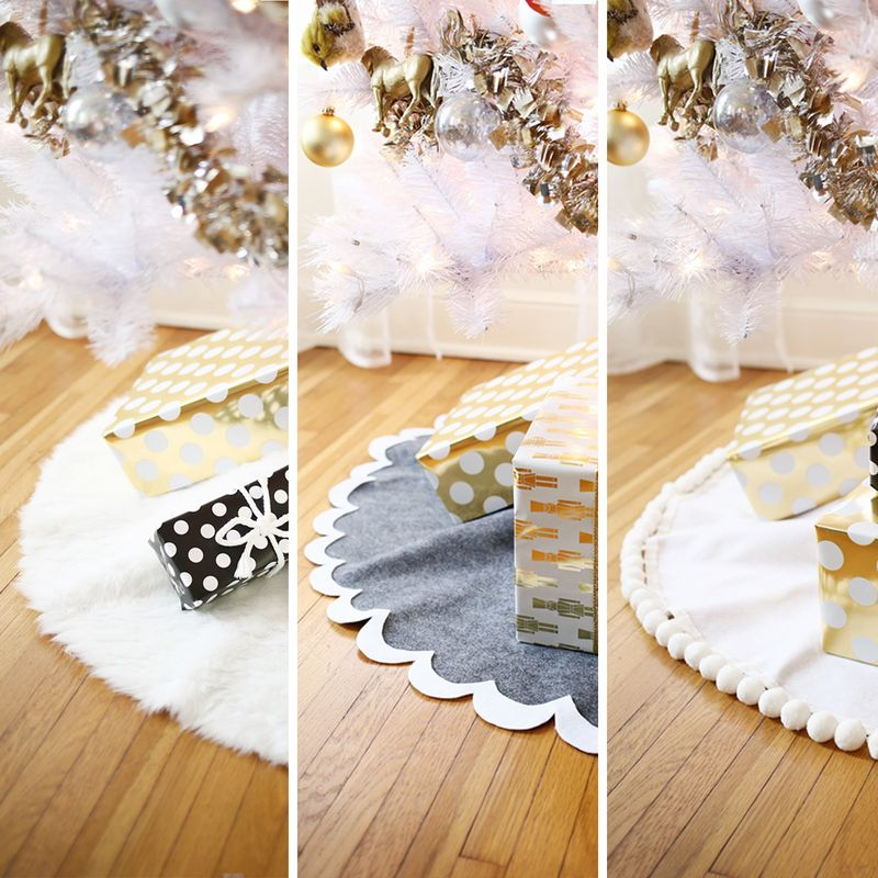 So easy! no-sew tree skirt 3 ways! (click through for tutorial)