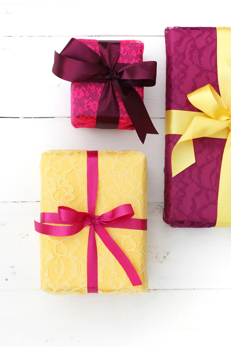 Wrapping gifts in fabric and lace