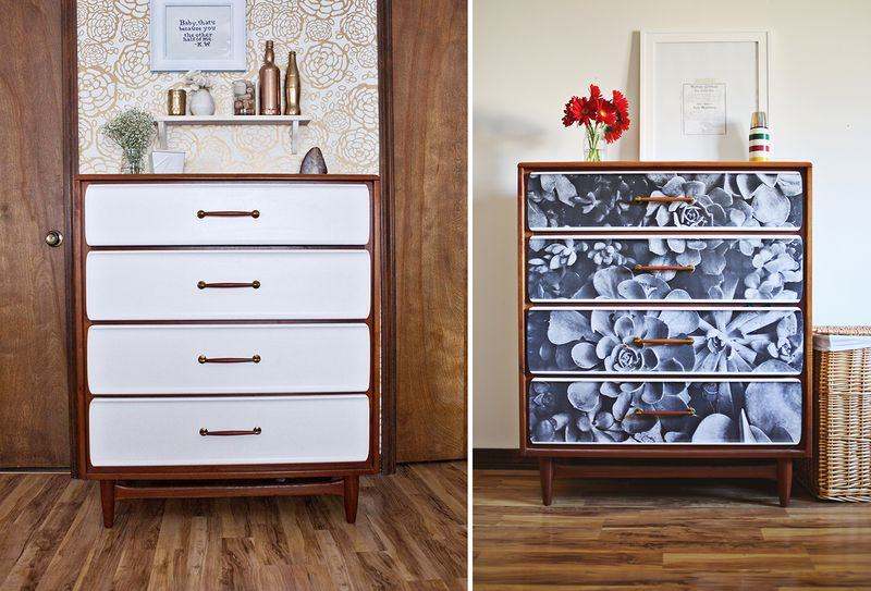 Before and after decoupage furniture