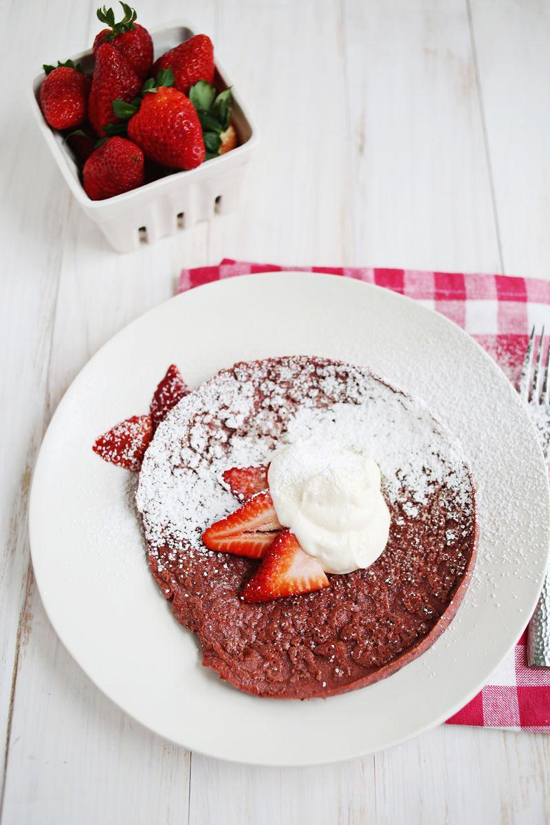 Red Velvet baked pancake with honeyed whipped cream cheese (via abeautifulmess.com)