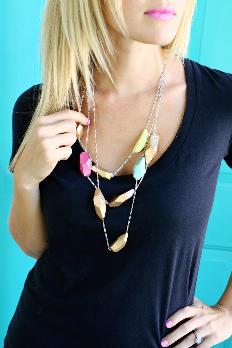 Clay geometric necklace