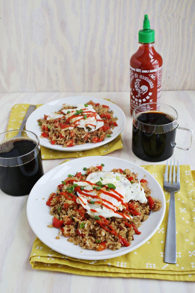Stir fry breakfast quinoa and wild rice (via abeautifulmess.com)