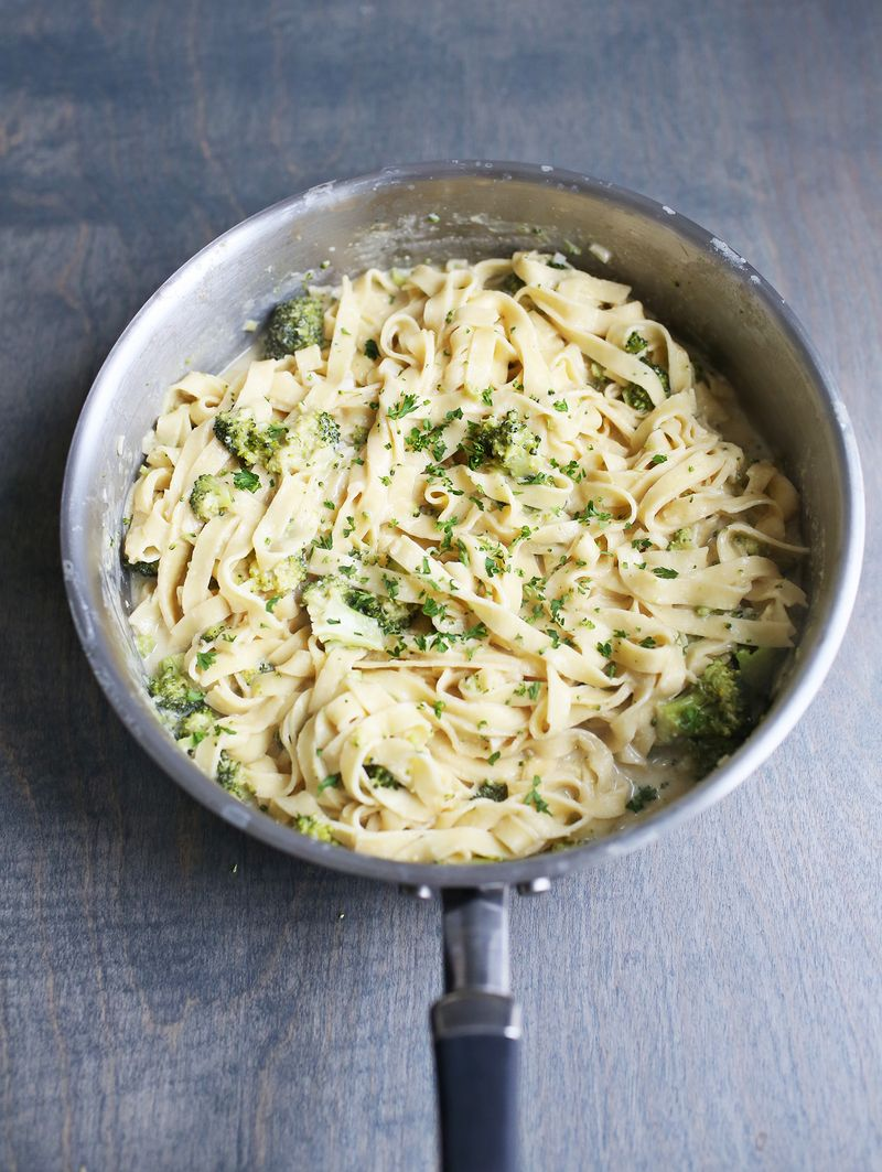 One Pot Creamy Broccoli Pasta A Beautiful Mess