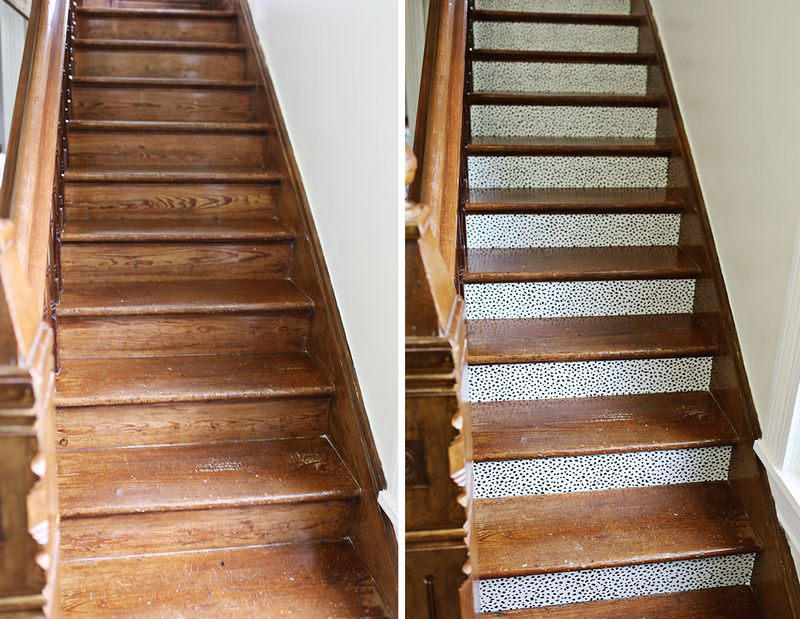 Stair makeover with removeable wallpaper