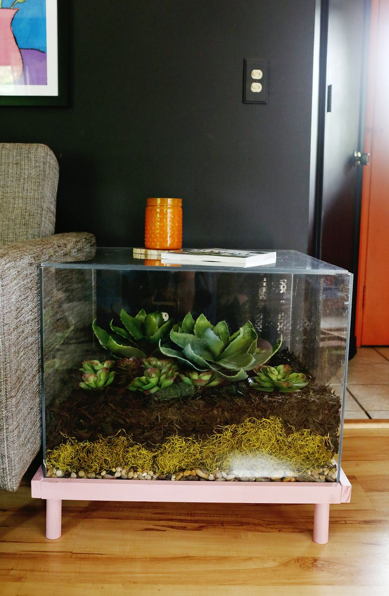 Terrarium side table diy 2
