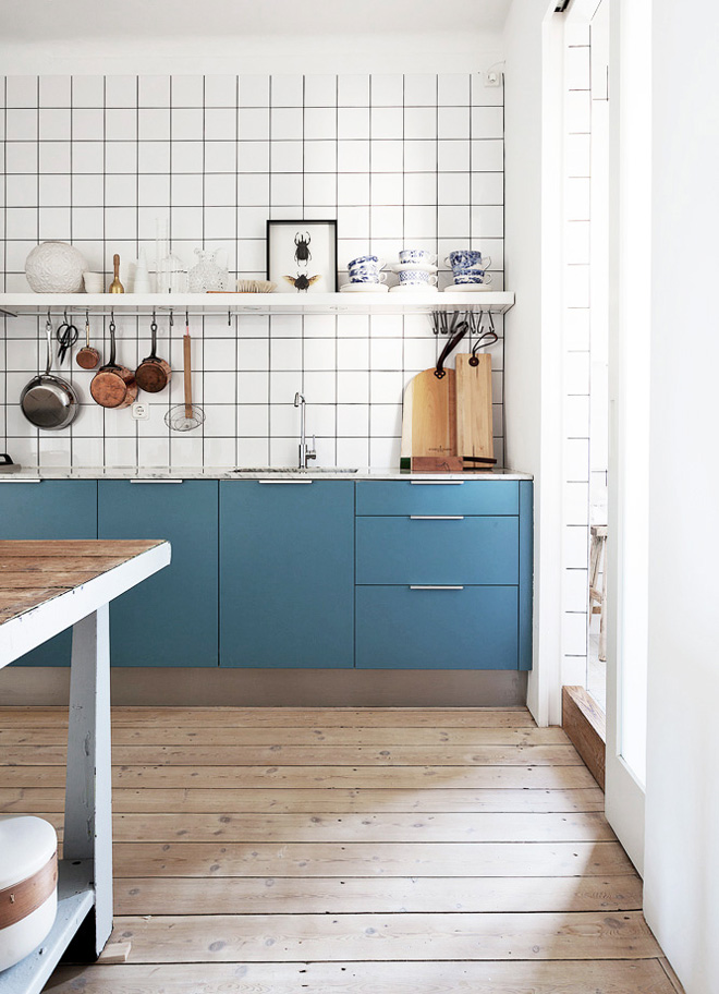 Modern Scandinavian kitchen in blue and white