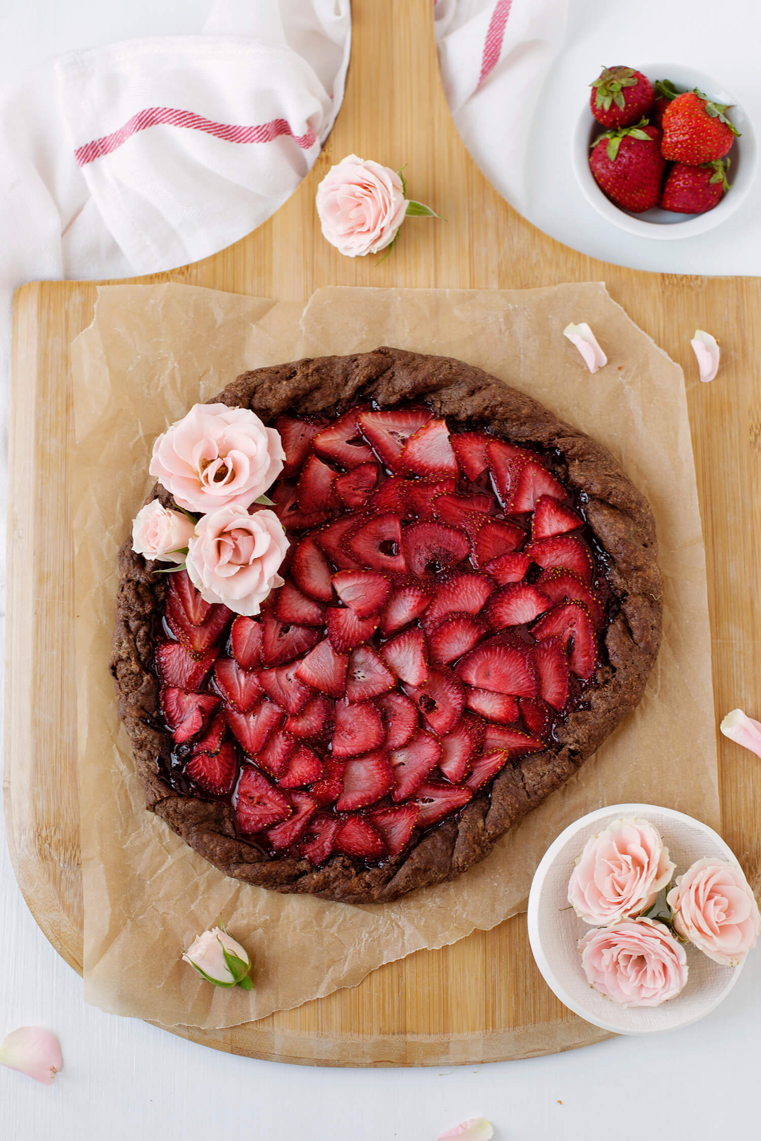 Strawberries and champagne galette with a chocolate crust (via abeautifulmess.com)