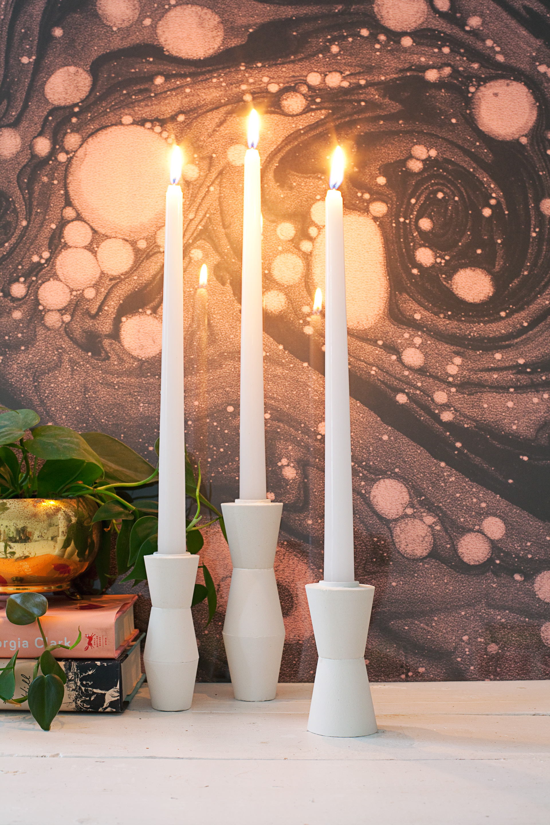 DIY Mid Century Modern Candlestick Holders— made from plaster!