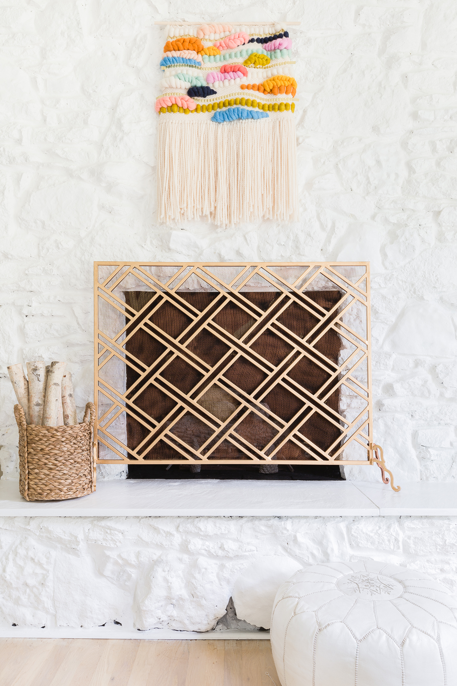 Painted white fireplace ©AlyssaRosenheck