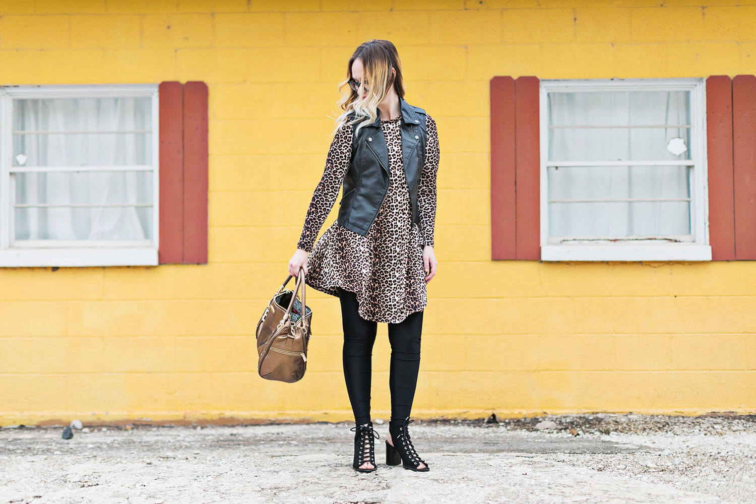 Leopard dress and black leggings