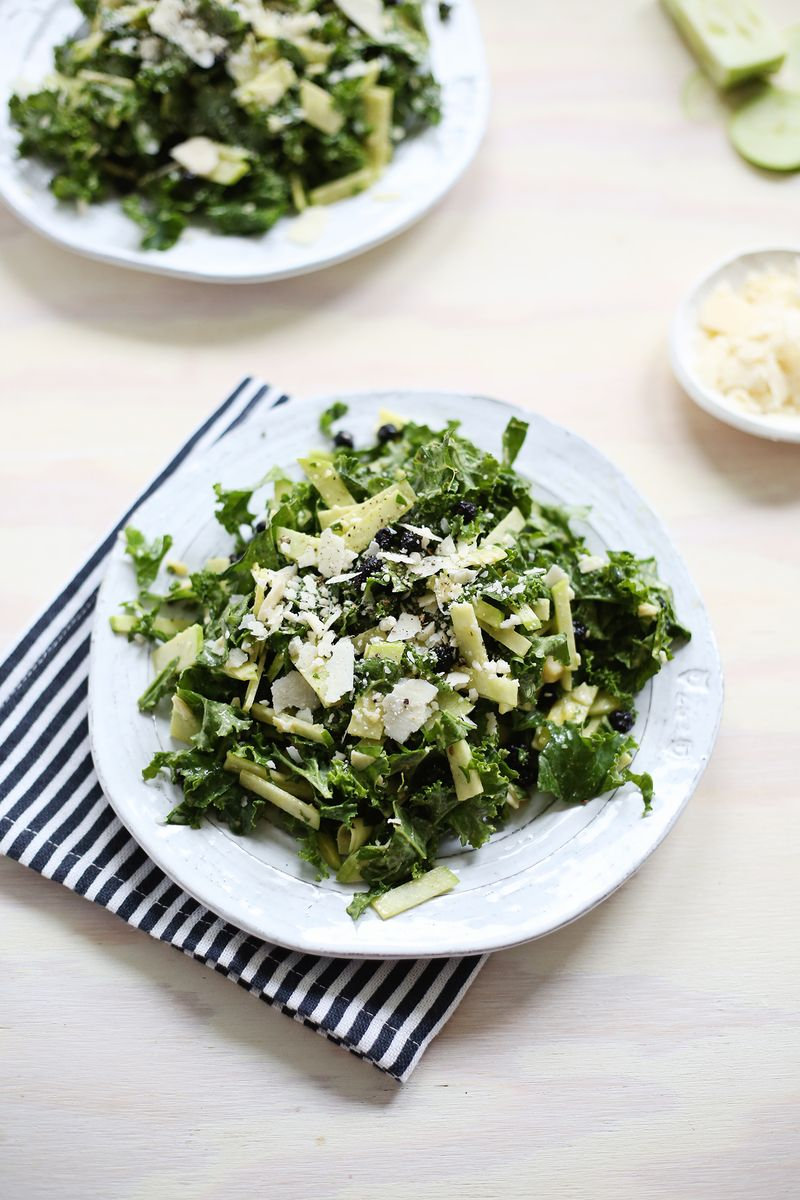Creamy Apple and Kale Salad (click through for recipe)
