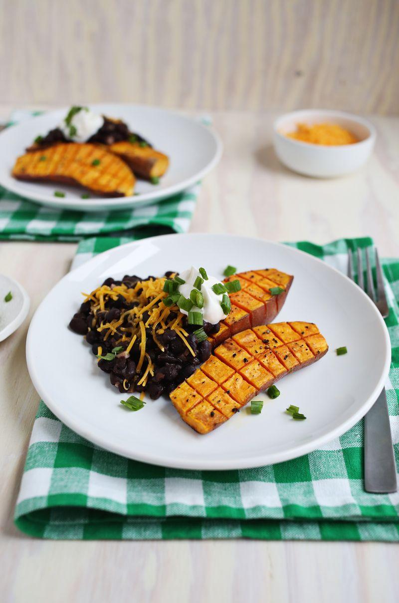 Roasted sweet potato and black beans
