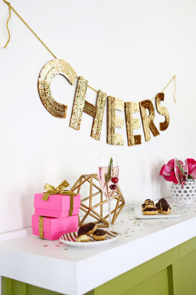 Love this! Sequin letter garland DIY (click through for tutorial)