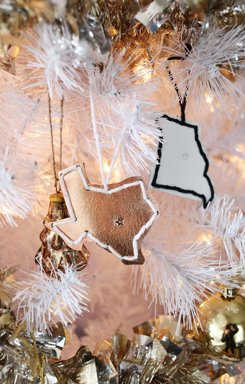 Leather state ornaments via A Beautiful Mess