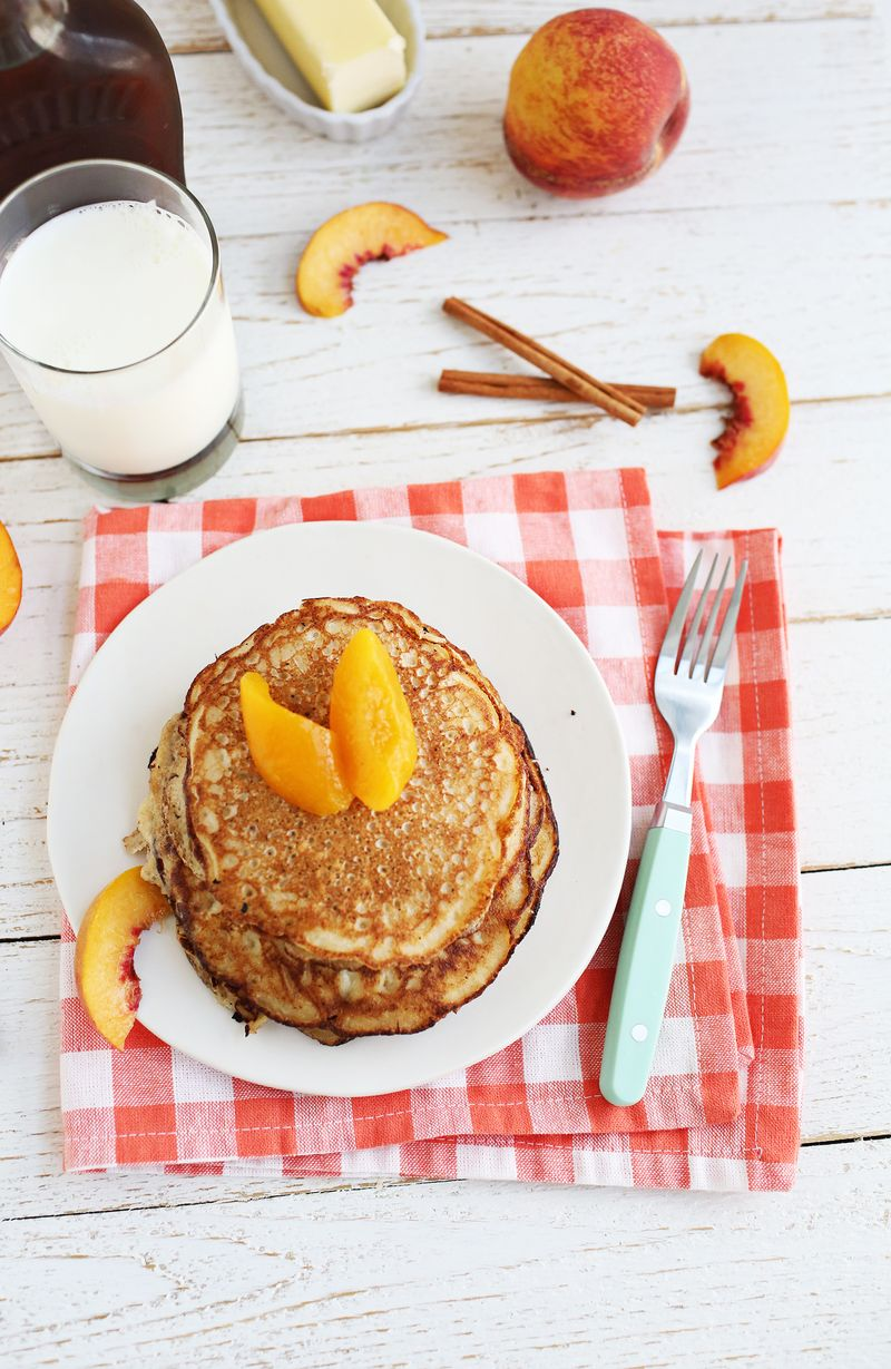 Peaches + Ricotta Pancakes (via abeautifulmess.com)