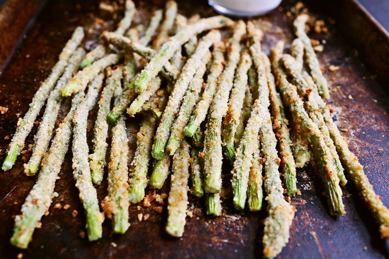Baked Asparagus Fries (via Abeautifulmess.com)