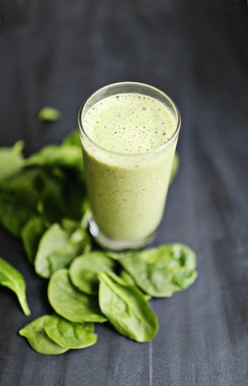 My favorite green smoothie-spinach cubes, frozen banana, vanilla protein powder and chashew milk
