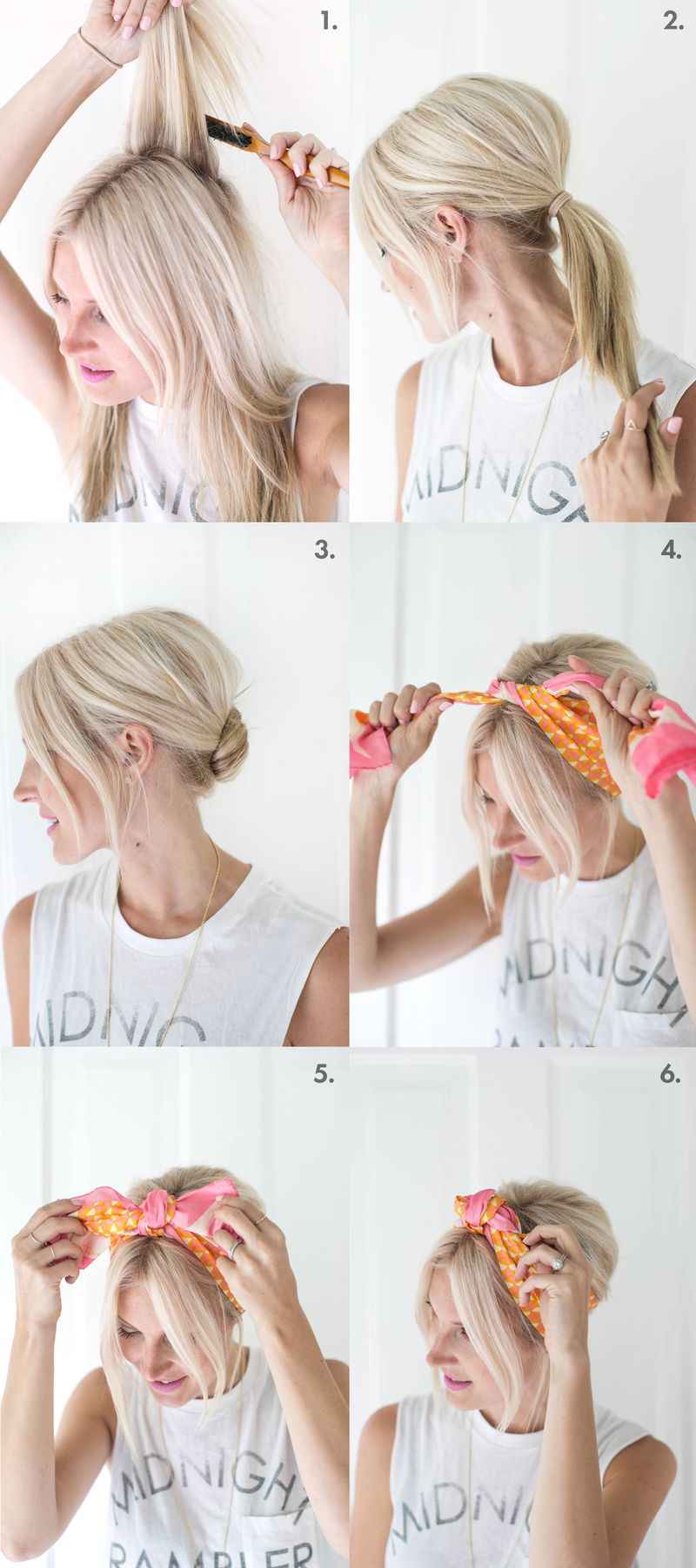 So pretty for summer! easy knotted scarf chignon (click through for tutorial)