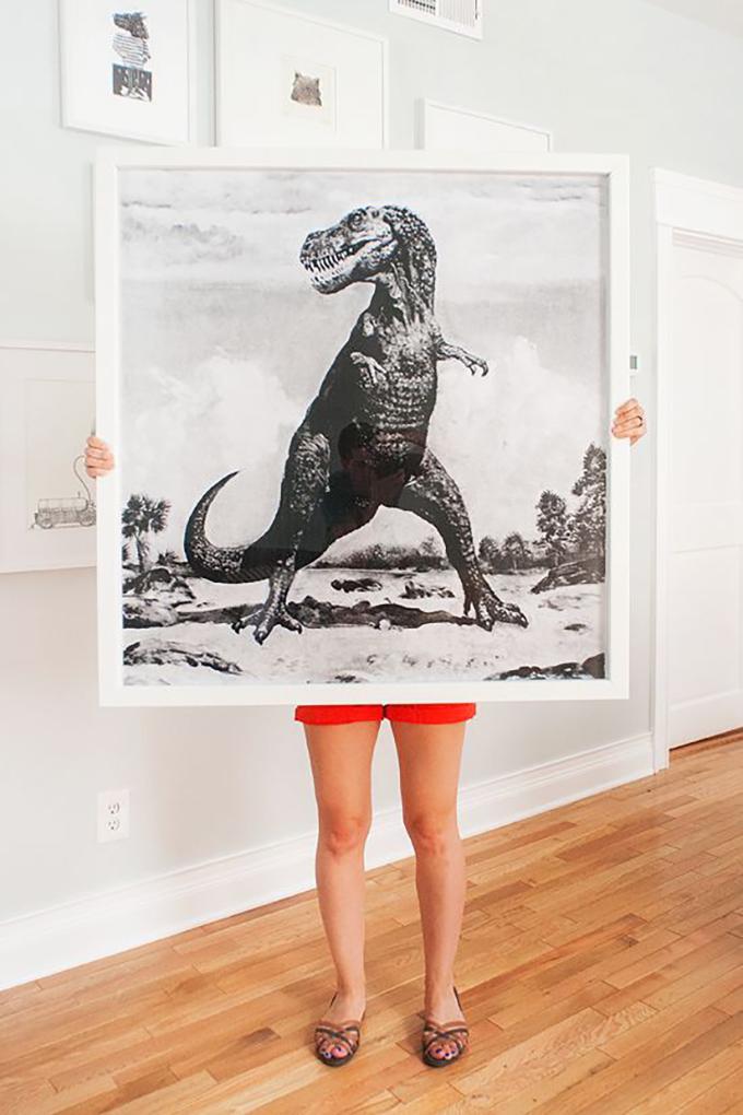 Dinosaur blueprint DIY art