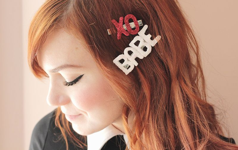 Love these DIY glitter barrettes for Valentines Day!
