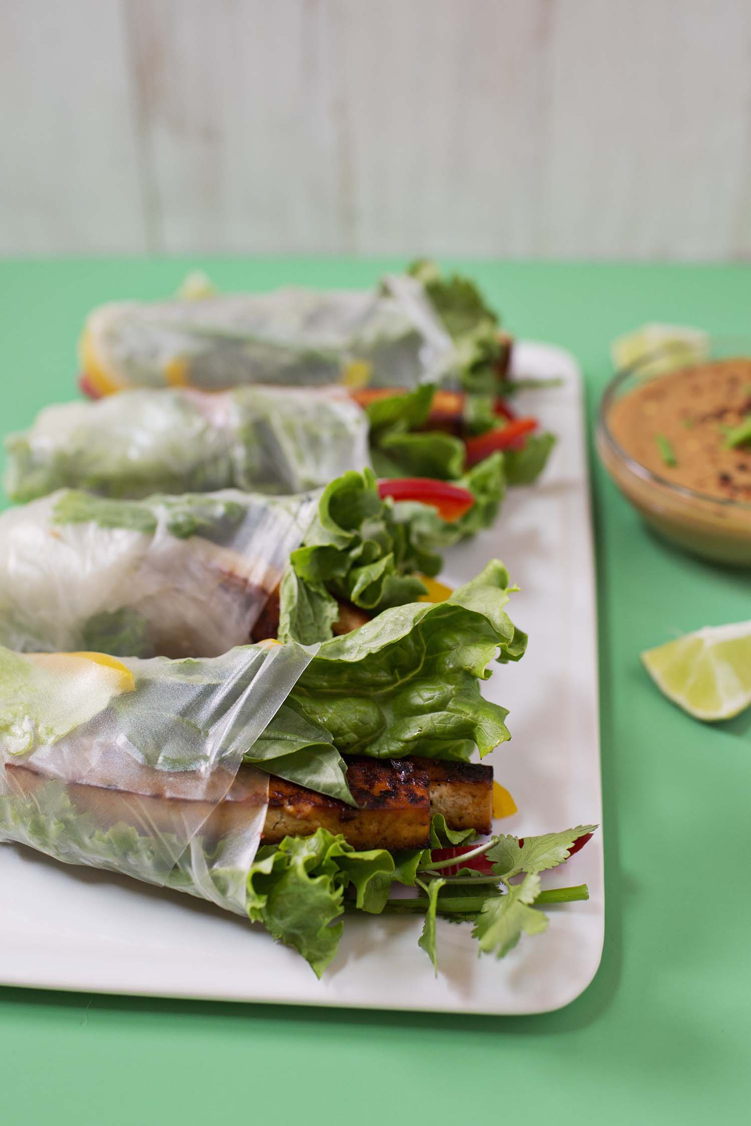 Marinated Spicy Tofu Spring Rolls (via abeautifulmess.com)