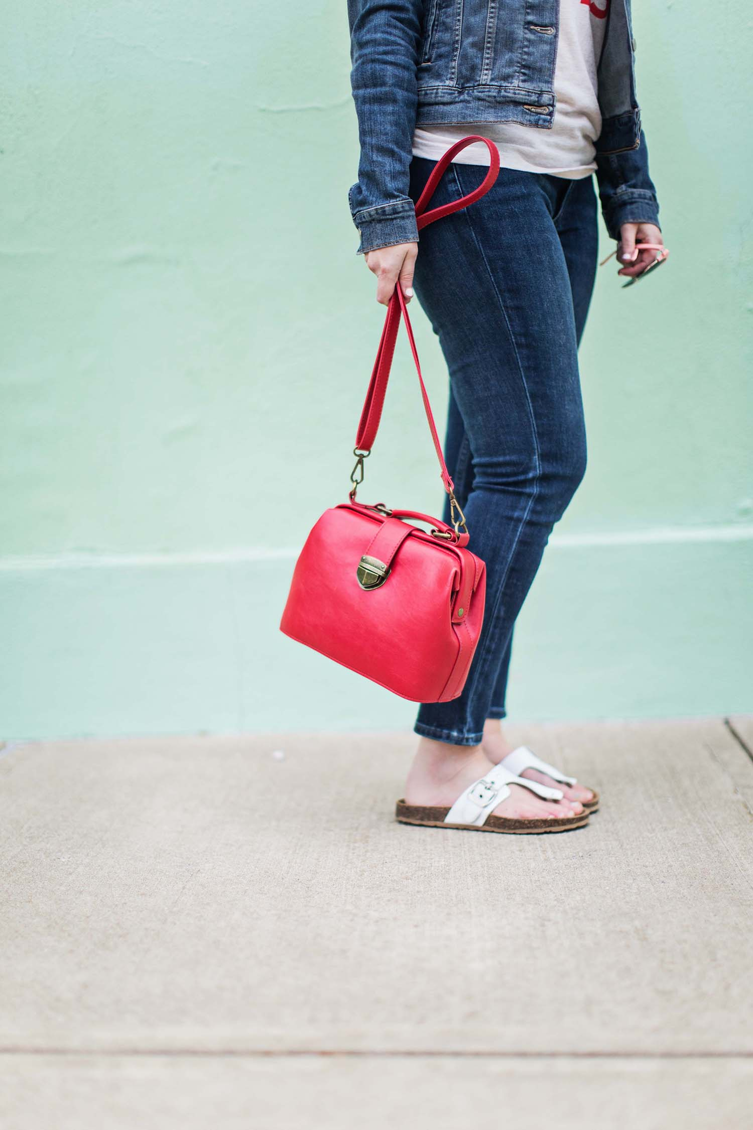 Red purse white sandals