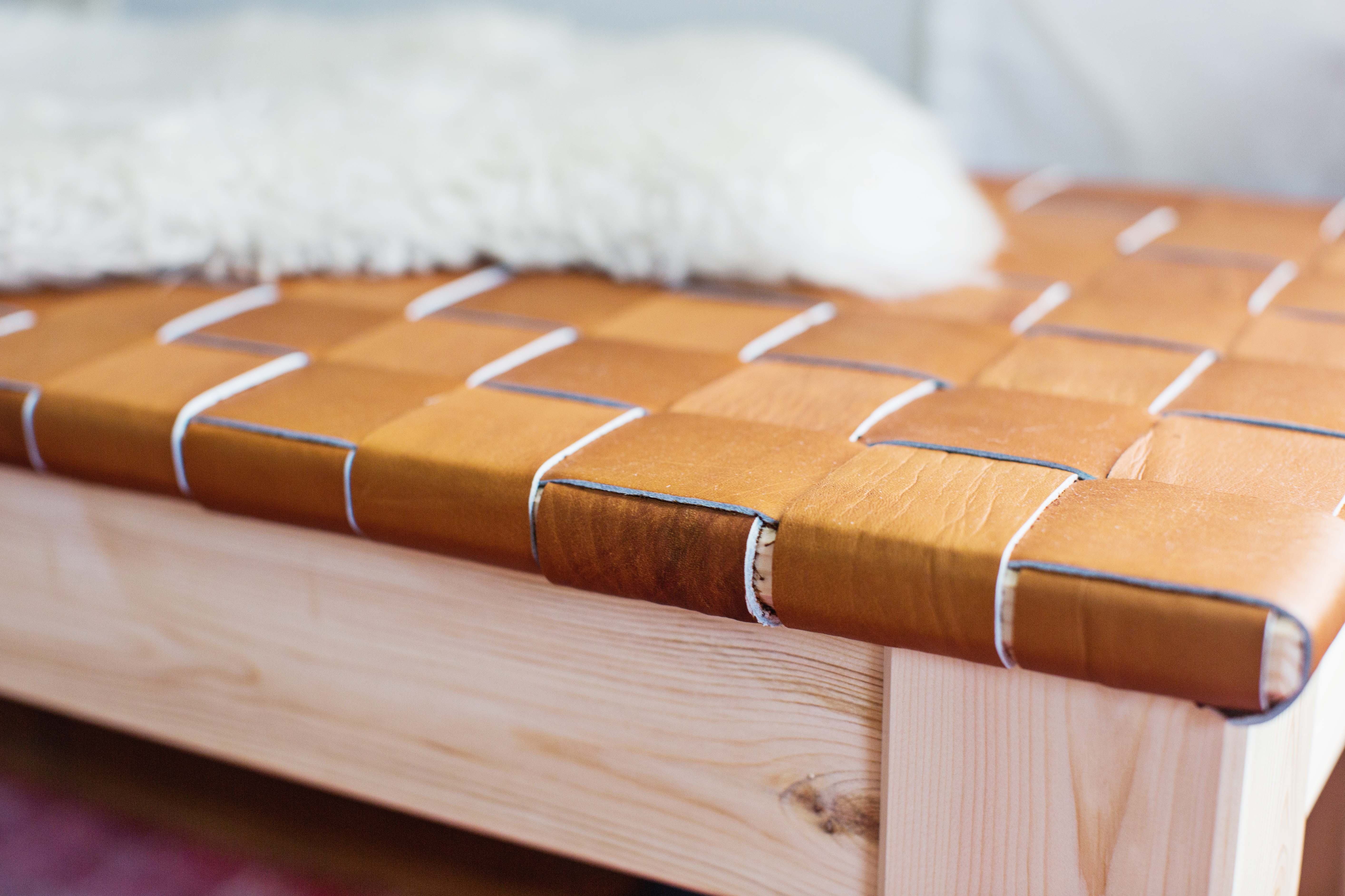 Woven Leather Bench DIY A Beautiful Mess