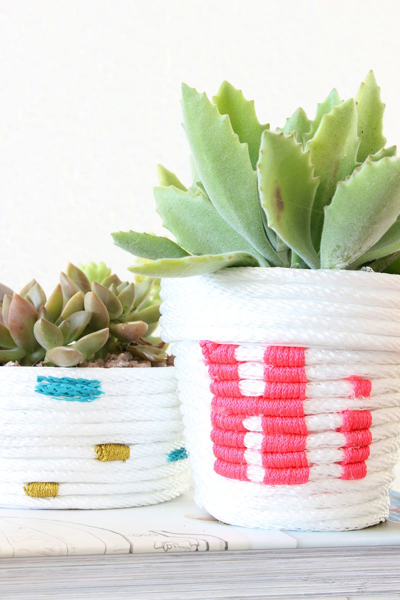 Rope wrapped planters