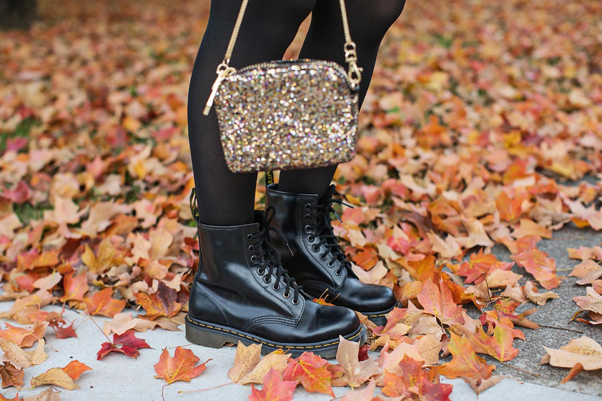 Boots and glitter purse