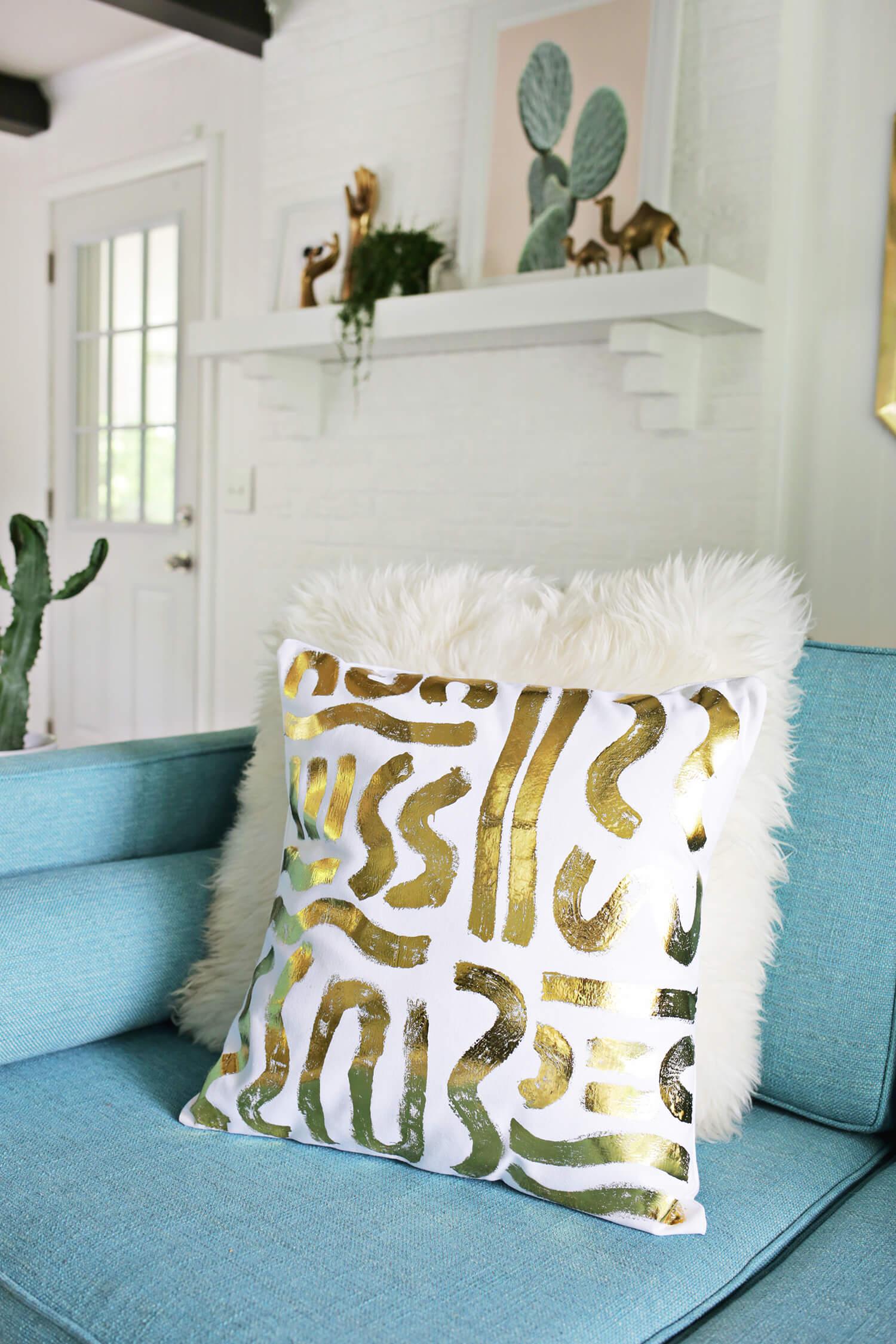 Gold Foil Pillow DIY